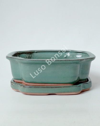 Vaso + Prato Oval 30x24,5x9 cm - Verde