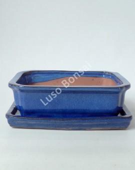 Vaso + Prato Rectangular 27x21x9.5 cm - Azul