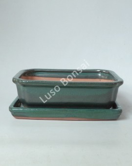 Vaso + Prato Rectangular 33x26x9,5 cm- Verde