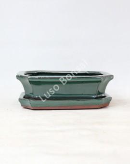 Vaso + Prato Rectangular 30,5x23x1,5 cm - Verde