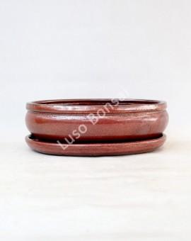 Vaso Oval + Prato 30.5x25x9 cm Castanho Oxido
