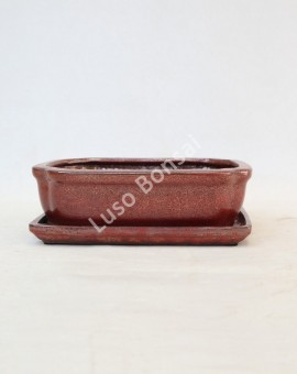 Vaso Rectangular + Prato 21x16x6 cm Castanho Oxido