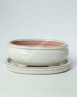 Vaso+Prato Oval 37x29x10cm Creme