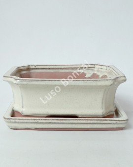 Vaso + Prato Rectangular 30,5x23x10,5 cm - Creme