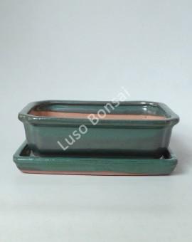 Vaso + Prato Rectangular 22x17x6 cm - Verde