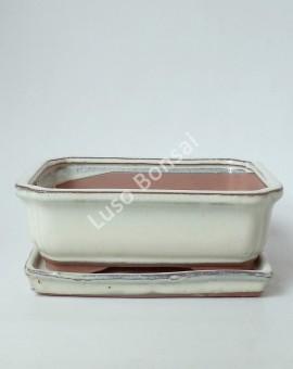 Vaso + Prato Rectangular 22x17x6 cm Creme