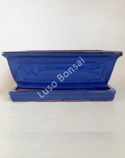 Vaso + Prato Rectangular 26x21x9 cm Azul