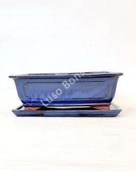 Vaso Rectangular+ Prato 32,5x25,5x11 cm Azul